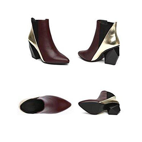 Multicolore Bottes Hauts Toe Bottes BOTXV Couture 36 Chelsea Chunky Talons Bottes Rugueux Martin Pointu Femmes REDWINE Talon Court qwRPZ