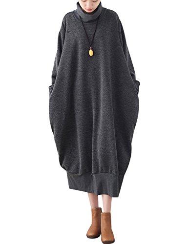 Grande Alto Gris Talla Jumper Cuello Vestido Otoño Mujeres De Invierno Youlee wxqvIz8Ox