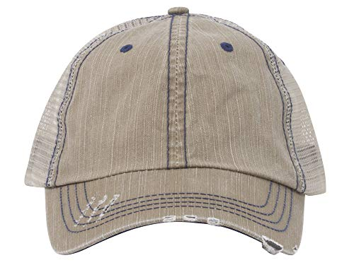 Lightweight Vintage Style Washed Mesh Trucker Baseball Cap Hat (Khaki)