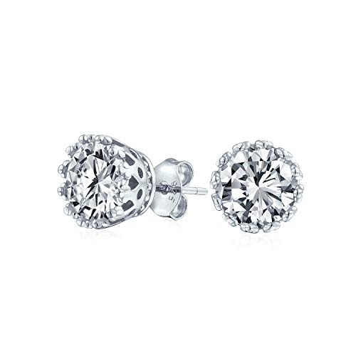 3.5CT Solitaire Round Cubic Zirconia Crown Basket Set CZ Stud Earrings For Men Women 14K Gold Plate Sterling Silver