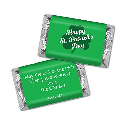 Personalized St. Patrick's Day Clover Hershey's Dark Chocolate Miniatures (50 Count) - Free Cold Packaging