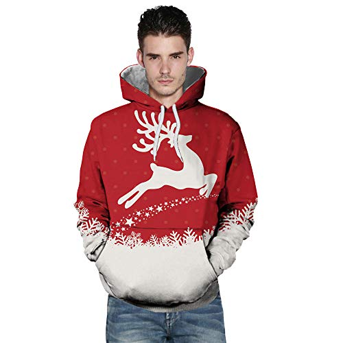 BHYDRY Lover Sweatshirt Casual Autumn Winter Christmas Printing Long Sleeve Hoodies Red-f
