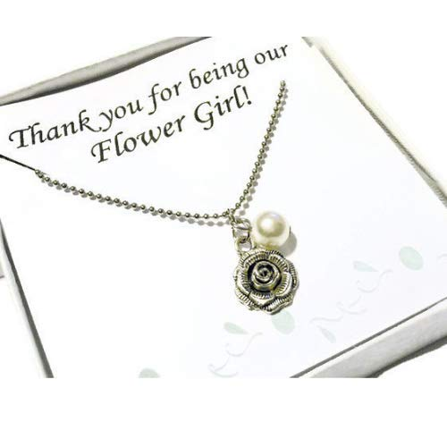 Thank You for Being Our Flower Girl Gift with Necklace and Printed Card, Flower Girl Gift for Wedding -