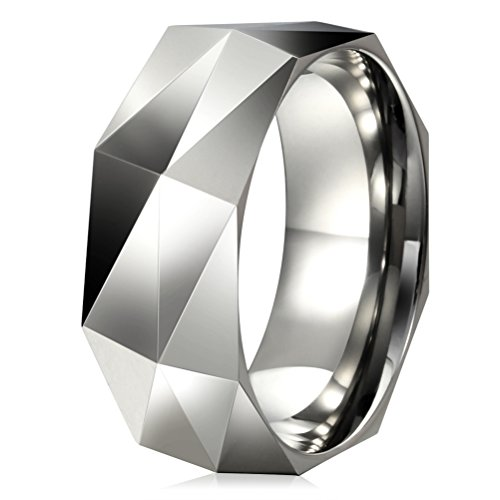 Three Keys Jewelry 8mm White Tungsten Carbide Ring Wedding Engagement Band Silver Multi Faceted Fashion Band Silver Size - Band Tungsten Faceted 8mm