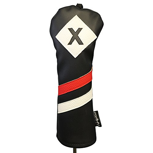 Majek Retro Golf Headcover Black Red and White Vintage Leather Style X Fairway Wood Head Cover Classic Look, Wheel Tag Includes Numbers 3 through 7 plus ()