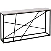 Furniture HotSpot - Faux Marble Top Skinny Console – Matte Black w/ White - 52 W x 10 D x 29 H