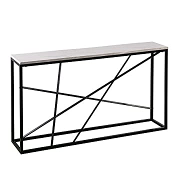 "Furniture HotSpot - Faux Marble Top Skinny Console – Matte Black w/White - 52"" W x 10"" D x 29"" H"
