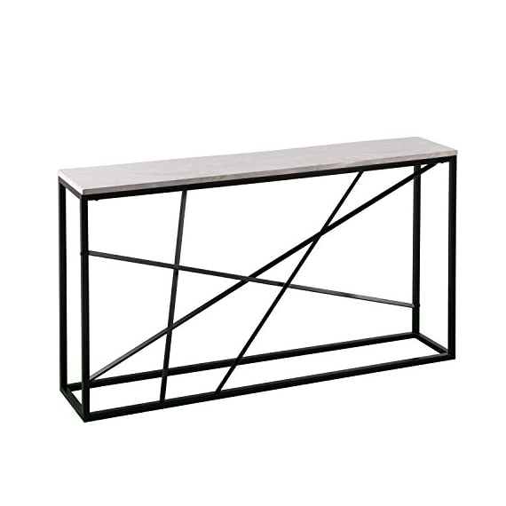 "Furniture HotSpot - Faux Marble Top Skinny Console - Matte Black w/White - 52"" W x 10"" D x 29"" H - Space saving skinny console table in matte black and white Realistic faux marble veining will vary on each narrow sofa table Materials: Powder-coated iron, engineered wood, lifelike marble paper veneer - living-room-furniture, living-room, console-tables - 41rS73eFfmL. SS570  -"