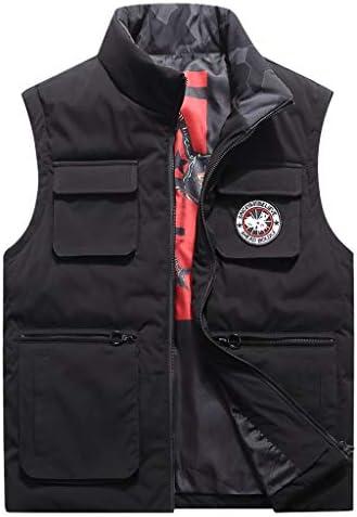 TXC- コットンベスト冬のメンズ厚手のベストノースリーブジャケット大型マルチポケットアウトドアベストショルダーコート 保温する (Color : Black, Size : 4xl)