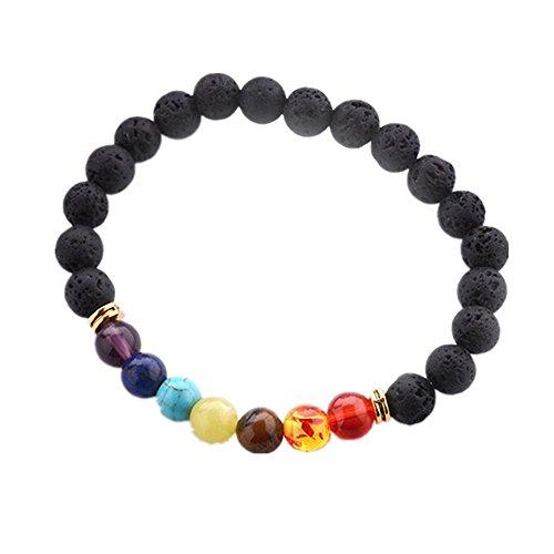 Willsa 7 Chakras Lava Rock Beads Black Gemstone Bracelet Reiki Healing Balance Buddha Bracelets (Simply Stone Brass Brass)