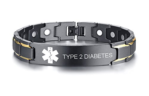 Type 2 Diabetes Black Ion Plated Stainless Steel Magnetic Therapy Health Emergancy Medical Alert ID Bracelets for Men Dad,8.6'' by Mealguet Jewelry