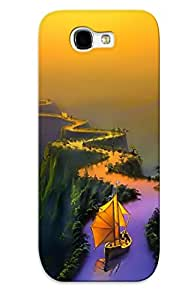 Crazylove Anti-scratch And Shatterproof Ship On River Bridge Phone Case For Galaxy Note 2/ High Quality Tpu Case