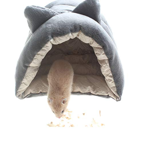 Emours Small Animal Pet Fleece Bed Warm Cage Cave Bedding Hides for Guinea Pig Hedgehog Hamsters Rats (Grey)