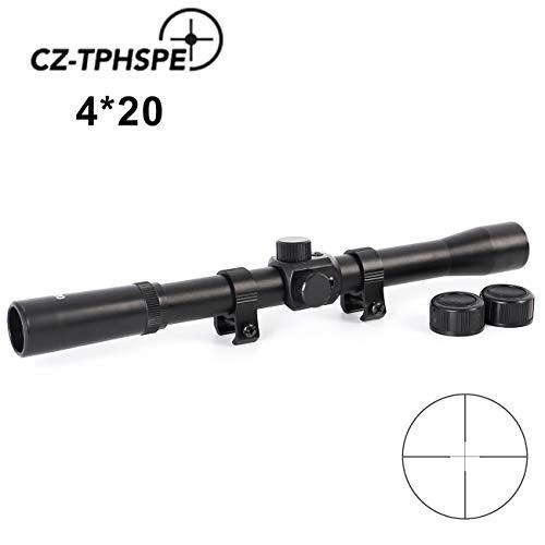 CZ-TPHSPE Rifle Scope 4X20 Matte Illuminated Optics Hunting Gun Scope with Mount Clamp Screws (Military Cap Matte Black)