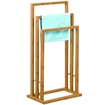 Handtuchhalter Badetuchhalter Badehandtuchhalter mit 3 Handtuchstangen Standhandtuchhalter aus Bambus Badehandtuchst/änder freistehend Edelstahl COSTWAY Handtuchst/änder Bad