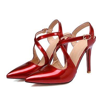 LvYuan Mujer-Tacón Stiletto-Otro-Sandalias-Vestido-Cuero Patentado-Negro Rosa Rojo Beige Red