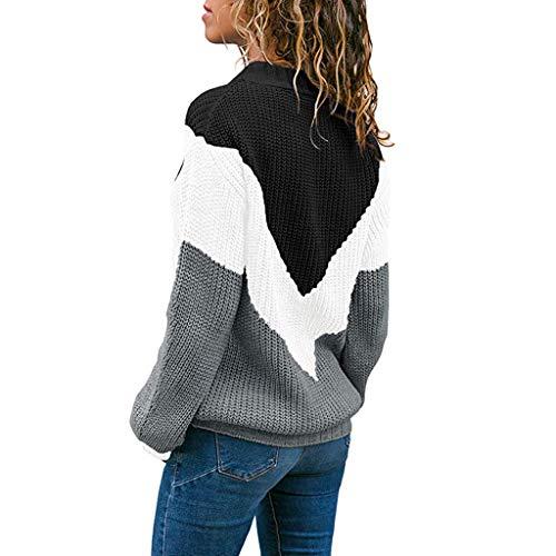 Haut Femme Soldes Patchwork Chandail Sport tops Manche Sweatshirt Mode Chic Rayure Blouse Sanfashion Casual Pull Sweat Noir Longue dwUEdI