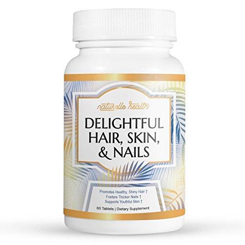 Naturelle Health's Delightful Hair, Skin & Nail Vitamins - with Biotin, Vitamin A, C, D, Folic Acid – Helps Increase Hair Growth, Thickness, Beautifies Nails, Invigorates Skin, 60 Capsules