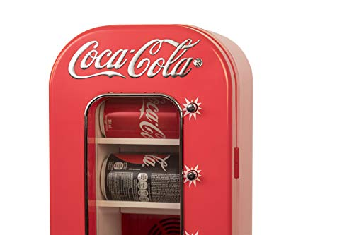 - Koolatron CVF18 Retro-designed Thermoelectric Vending Fridge, Holds up to 10 Cans, Push Button Vending, Tall Window Display, Plugs Into Any Vehicle 12V Plug or Household Outlet, Red