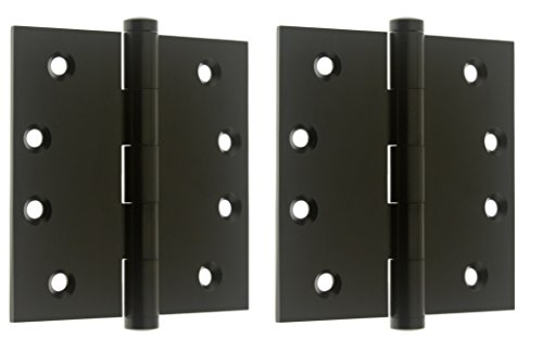 "Professional Grade Quality Solid Brass 4"" x 4"" Full Mortise Square Corner Door Hinges (84040) (Pair) (Matte Black)"