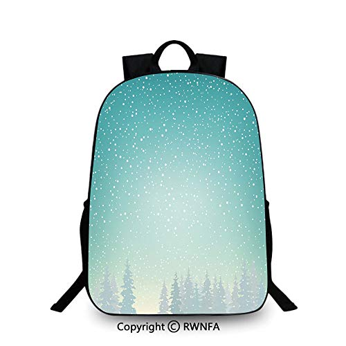(Notebook computer schoolbag,Snow Falls on the Spruce Forest Fir Trees Seasonal Nature Woods Icy Cold Xmas Time Decorative Travel College School Bags)