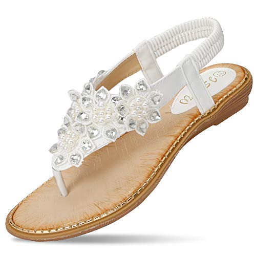 CARETOO Ladies Flat Sandals Shoes, Women Fashion T Strap Summer Flip Flops Sandal, Rhinestone Bling Backstrap Beach Sandal White