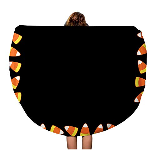 Semtomn 60 Inches Round Beach Towel Blanket Halloween Party Candy Corn Ornamental on Children Pictures Festive Travel Circle Circular Towels Mat Tapestry Beach Throw -