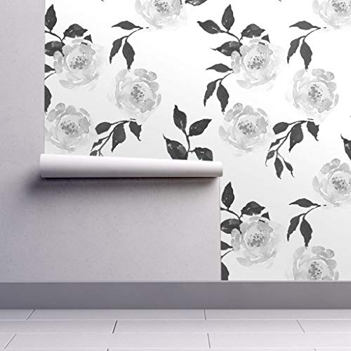 (Peel-and-Stick Removable Wallpaper - Floral Floral Roses Black White Floral Flowers Black and White by Shopcabin - 12in x 24in Woven Textured Peel-and-Stick Removable Wallpaper Test Swatch)