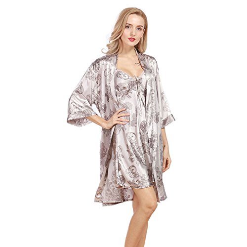 0430c11175 Daiwenwo Women Robe Gown Set Sleepwear Faux Silk Luxurious Ladies Summer  Bath Robe Nightdress 2 Pcs Set Female Pajamas WP322 at Amazon Women s  Clothing ...