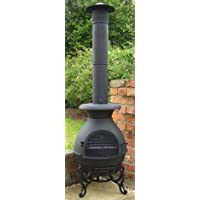 Castmaster Pasadena Cast Iron Chiminea pot belly wood stove Patio heater - FREE BBQ Grill included