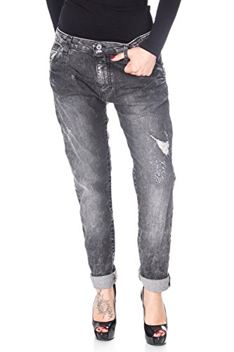 Donna Jeans Nero Please P85 Strappato Baggy OpWCqnBwxn