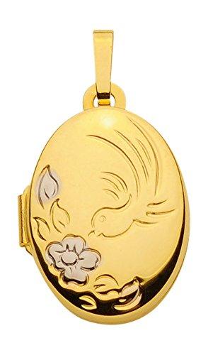 Pendentif médaillon en forme de cœur, pendentif en or jaune 333 8 carats
