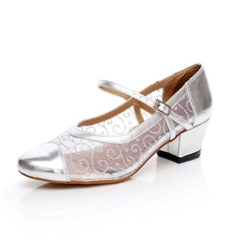 Cxs Women Pompes Chaussures De Danse De Salon Avec 1,8 Talon Argent