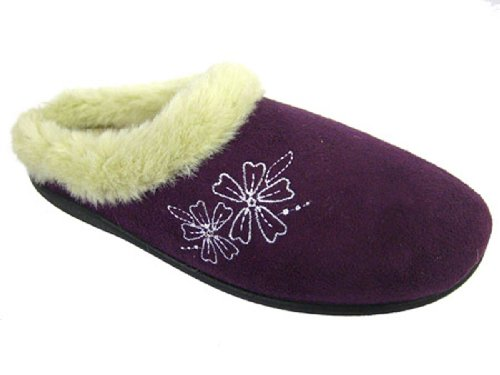 Sintetica Slip Faux Slipper On Winter Viola Mule Warm Fiore Donna Da Con Pantofola New In Pelliccia qCIwzS4nx