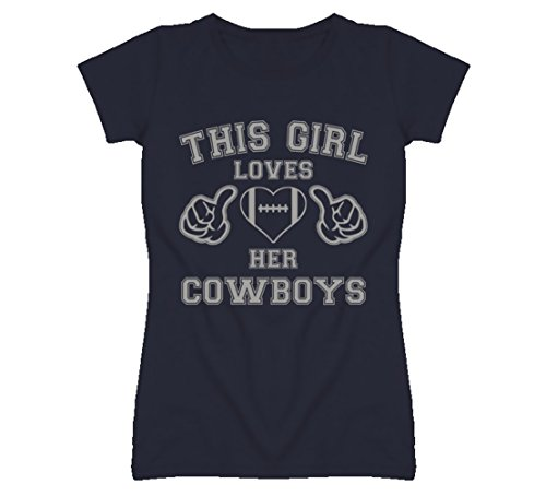 South Beach Women's This Girl Loves Her Dallas Cowboys Football T-Shirt LG Navy