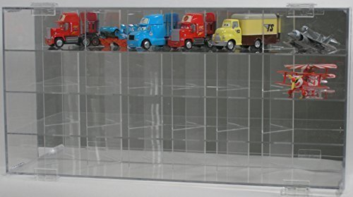 Diecast Disney Pixar Cars Display Case 1:55 24/55 Side Angle Mirror Back and Compartments Disney Cars Display Case