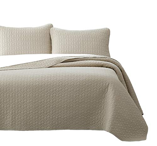 Vega Prewashed 3 Piece Quilted Quilt, Coverlet & Bed Cover Set, Stitched Pattern, Solid Color, Soft Microfiber Shell 100% Cotton Filling | Tan | Full/Queen Size Bedspread