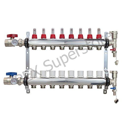 8 Loop Stainless Steel PEX Manifold With 1/2