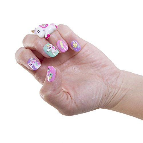 Hot Focus Pop Nail Glitz - 3D Unicorn Nail Art Kit for Girls - 65 Piece Set Includes 3D Press on Nails, Nail Stickers, Nail File and Ring by Hot Focus (Image #2)