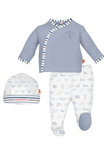 Magnetic Me by Magnificent Baby Boys Magnetic Airplane Kimono Pant and Hat Set, Blue, New Born