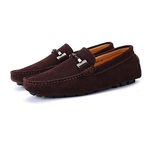 uomo Fashion Mocassini per on 47 taglia pelle Nhatycir da in pelle Slip Handwork barca Flat Business Shoes Fino alla guida Mocassini vera scamosciata Scarpe Suture EU Mocassini Vino da xRZqnI