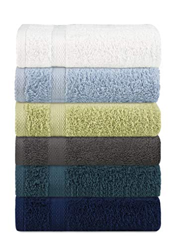 Glamburg 6 Pack Multi Color Hand Towel Set - 100% Pure Ringspun Cotton, 16x28 - Ideal for Everyday use, Quick Dry, Multipurpose - Highly Absorbent & Soft - Light Weight - Extraordinary Value Pack