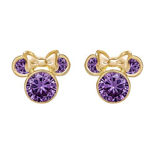 Disney Minnie Mouse 10K Gold Birthstone Stud Earrings, February Purple Cubic Zirconia;