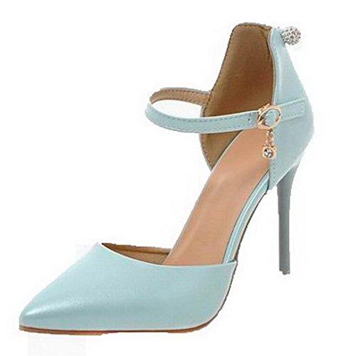 VogueZone009 Women Buckle Pu Closed-Toe High-Heels Solid Sandals, CCALP014055 Blue