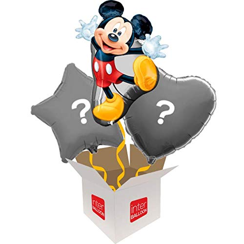 3 Balloon Bouquet InterBalloon Helium Inflated 31  Supershape Mickey Mouse Balloon Delivered in a Box with 4 Extra Balloons of your choice