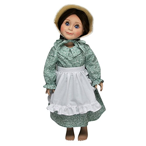 Officially Licensed Little House On The Prairie Green Calico Dress with Apron and Bonnet. Sized Perfectly for 18 Inch American Girl Dolls.