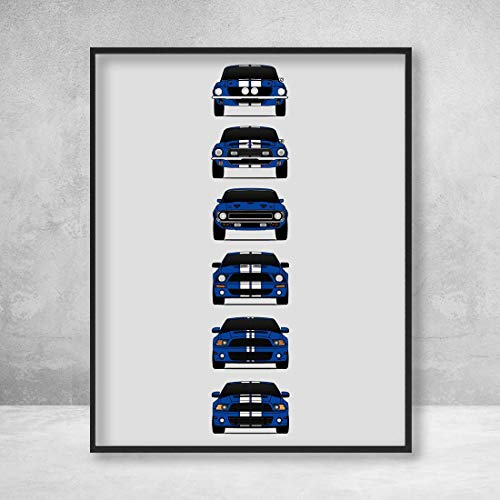 Shelby Mustang GT500 Generations Poster Print Wall Art of the History and Evolution of the Ford Shelby GT500 (Blue Car, White Stripes)