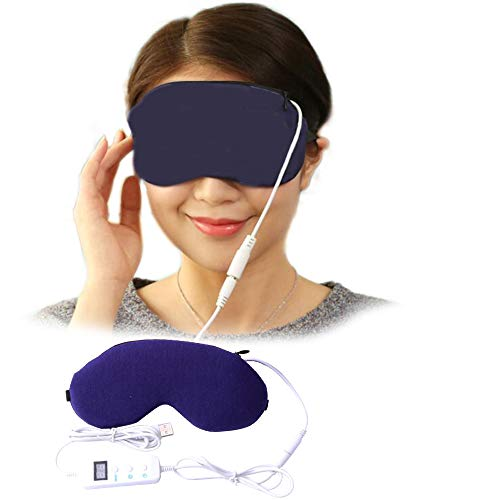 Eye Heating Pad, Far Infrared Portable Electric Heating Pad for Eyes, Sleep Mask, 5 Temperatures Control with USB Cable,Hot Therapy,Relieve Fatigue,Dry Eye, Fade Black Eye,Release The Eyes (Dark Blue) -