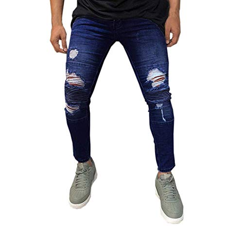 GWshop New Men Casual Trousers Biker Ripped Frayed Slim Fit Zipper Skinny Denim Jeans Fashion Casual Long Pants Sports Trousers M