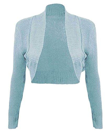 Femme 21fashion Manches Bleu Gilet Longues Uni Aqua Taille Unique qqRS7wfna